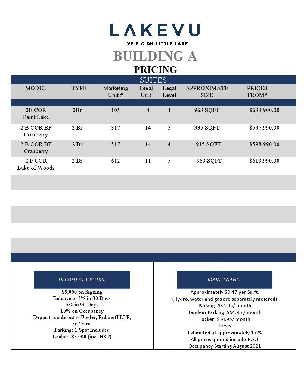 LakeVu - Price List